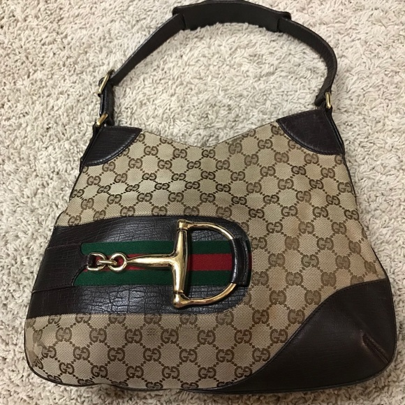 Gucci Handbags - Authentic Gucci Horsebit Hasler Brown Canvas 7009f06fafcd5